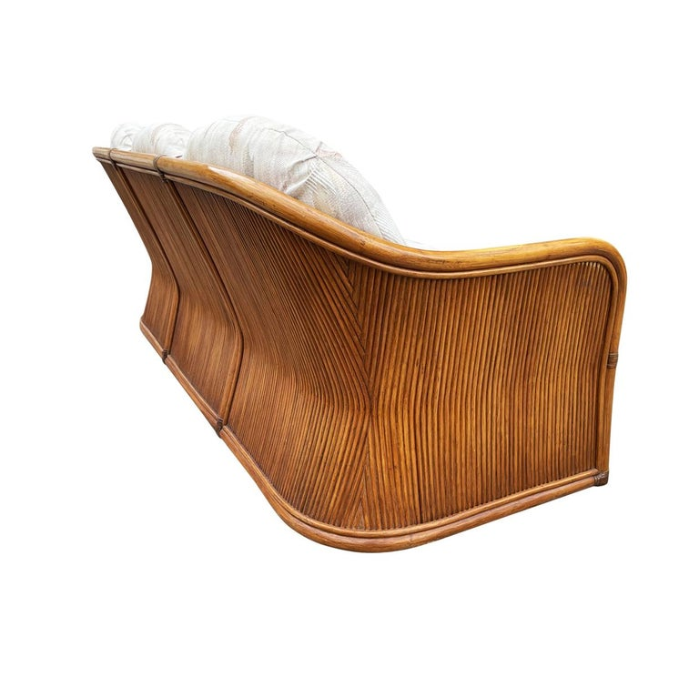 Mid-Century Modern Sculptural Walnut Stained Bamboo Reed Sofa In Good Condition For Sale In Philadelphia, PA