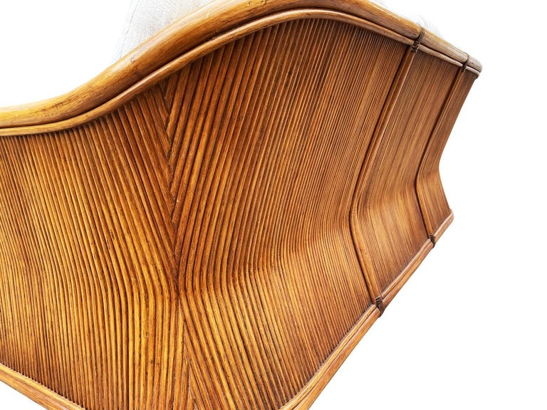 Mid-Century Modern Sculptural Walnut Stained Bamboo Reed Sofa For Sale 1