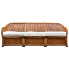 Mid-Century Modern Sculptural Walnut Stained Bamboo Reed Sofa