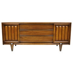 Mid-Century Modern Sculptural Walnut V-Leg Long Dresser Credenza Cabinet