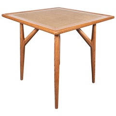 Mid-Century Modern Sculptural White Oak Table with Wrapped Linen Top