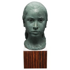 Mid-Century Modern Sculpture Bust of a Young Girl