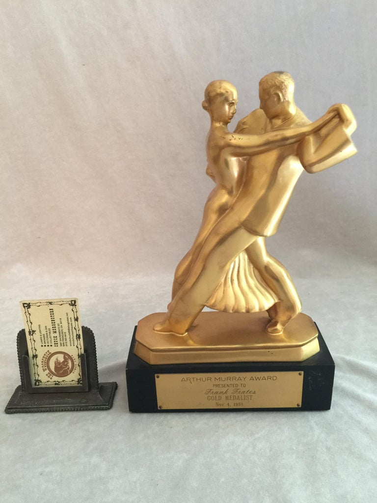 We deal in sculpture, mainly bronzes, and the vast majority of them are 1930's or earlier, but this was too good to pass. We also rarely buy trophies, but trophies are rarely this good. If you just peel off the presentation plaque, you have a