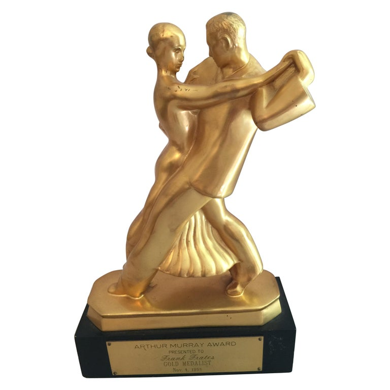 Mid-Century Modern Sculpture, Dance Couple, Presented as Trophy, Dated 1958 For Sale