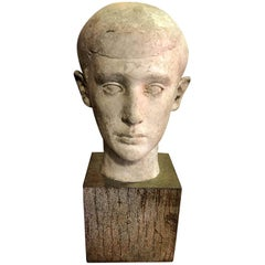 Mid-Century Modern Sculpture of Head Bust of Boy, 1945