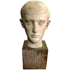 Mid-Century Modern Sculpture of Head Bust of Boy, 1945