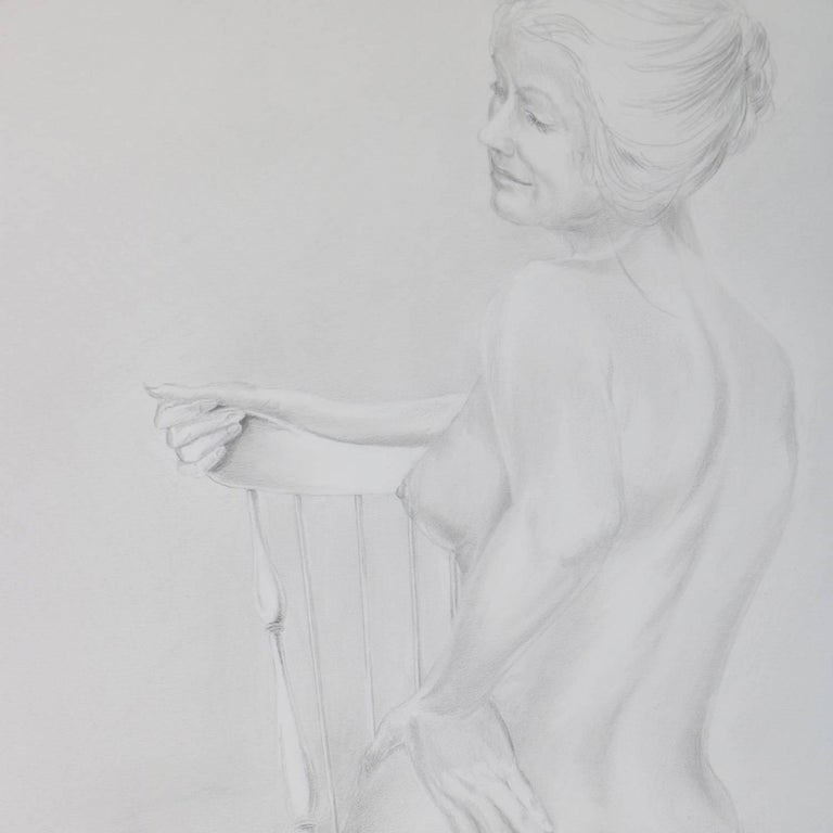 Mid-Century Modern graphite drawing by David Hanna (United States, 1941 - 1981) depicts portrait of seated nude female, pencil signed lower right David Hanna, framed and matted, circa 1970  ***DELIVERY NOTICE – Due to COVID-19 we are employing