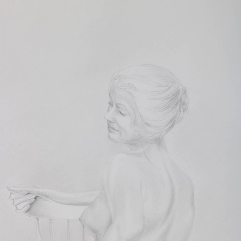 American Mid-Century Modern Seated Nude Female Graphite Portrait by David Hanna For Sale