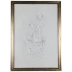Mid-Century Modern Seated Nude Female Graphite Portrait by David Hanna