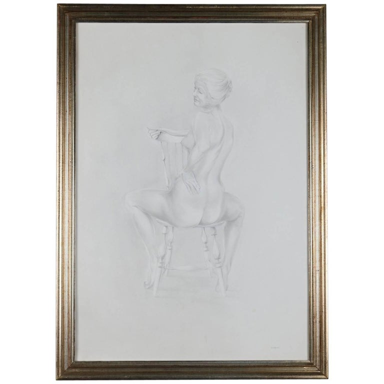 Mid-Century Modern Seated Nude Female Graphite Portrait by David Hanna For Sale