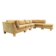 Mid-Century Modern Sectional or Modular Parsons Sofa Set by Selig with Ottoman