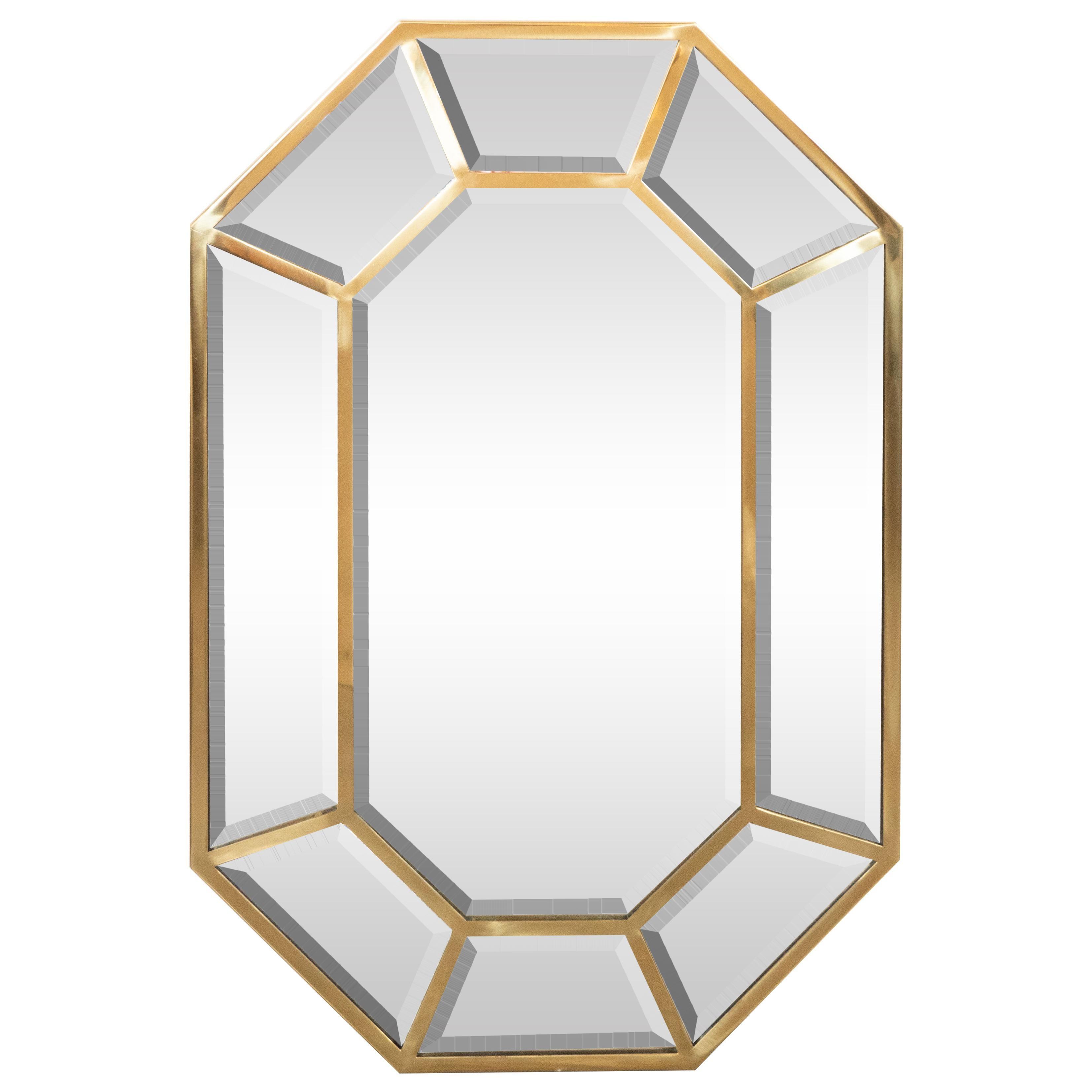 Mid-Century Modern Segmented Octagonal Polished Brass Mirror