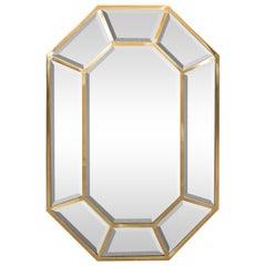 Mitte des Jahrhunderts Modern segmentierten achteckigen Messing poliert Spiegel
