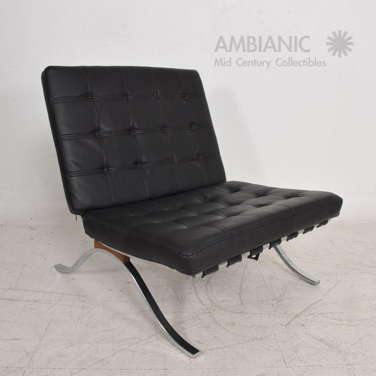 For your consideration: a vintage Lounge Chair in the Barcelona Tugendhat style designed in 1929 by Ludwig Mies van der Rohe. Offering this Mid Century Modern Classic design circa1960s done by SELIG.  Chrome-plated frame with Rosewood details