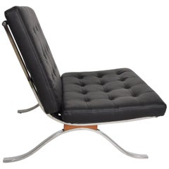 Mid-Century Modern SELIG Barcelona Lounge Chair in Chrome and Faux Leather 1960s