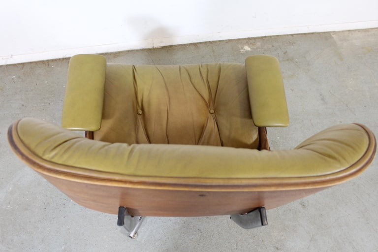 Mid-Century Modern Selig Eames Leather Lounge Chair and Ottoman 7