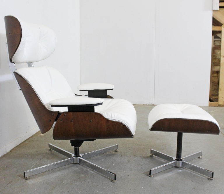 Danish Mid-Century Modern Selig Eames Leather Lounge Chair and Ottoman