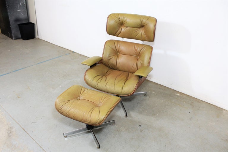 American Mid-Century Modern Selig Eames Leather Lounge Chair and Ottoman