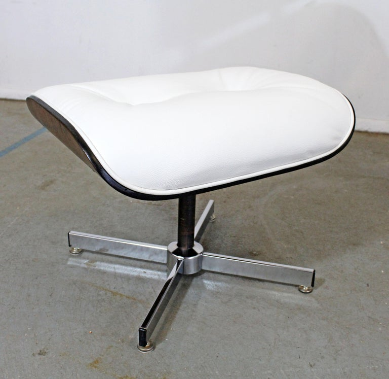 Mid-20th Century Mid-Century Modern Selig Eames Leather Lounge Chair and Ottoman