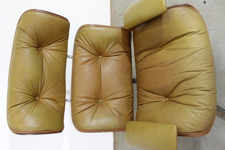 Mid-Century Modern Selig Eames Leather Lounge Chair and Ottoman 3