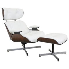 Mid-Century Modern Selig Eames Leather Lounge Chair and Ottoman