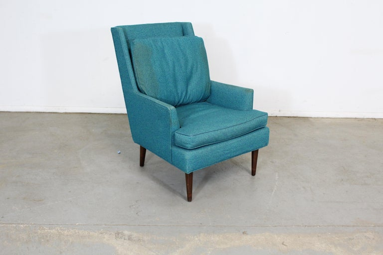 Mid-Century Modern Selig pencil leg lounge chair Offered is a Mid-Century Modern lounge chair attributed to Selig. This piece is unrestored needs new cushions and upholstery. Showing age wear on the legs. Its tag has been removed by previous owner.