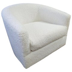 Mid-Century Modern Selig Swivel Chair Newly Upholstered Faux Shearling Boucle