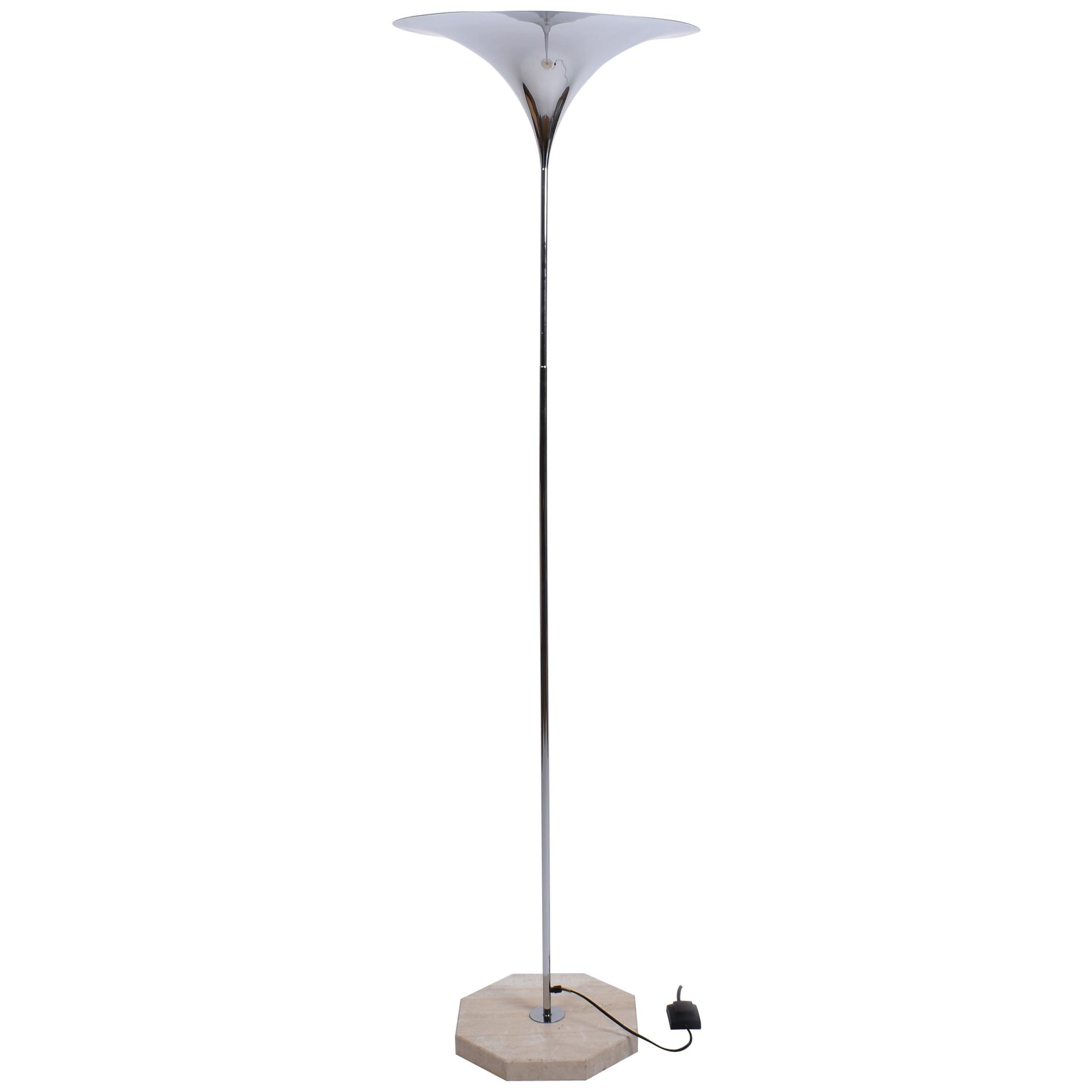 Mid-Century Modern Semi Floor Lamp with Travertine Base, Italy, 1970