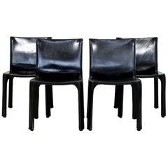 Mid-Century Modern Set 4 Bellini Cassina Side Dining Chairs 1970s Black Leather