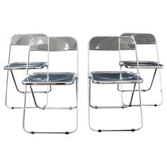Mid-Century Modern Set 4 Lucite Chrome Folding Side Chairs Italy 1960s Castelli