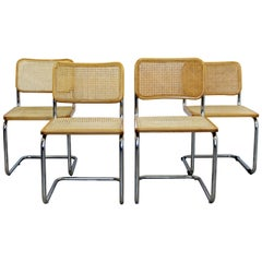 Mid-Century Modern Set of 4 Marcel Breuer Cane Cantilever Chrome Side Chairs