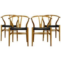 Mid-Century Modern Set 4 New Hans Wegner Hansen Wishbone Dining Chairs