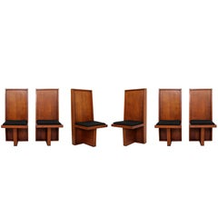 Mid-Century Modern Set of Six High Back Frank Lloyd Wright Style Dining Chairs