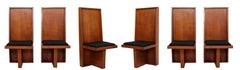 Mid Century Modern Set 6 High Back Frank Lloyd Wright Style Wood Dining Chairs