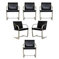 Mid-Century Modern Set 6 Knoll BRNO Brushed Steel Cantilever Dining Armchairs