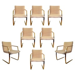 Mid-Century Modern Set 8 Brass Cantilever Dining Armchairs by Pace