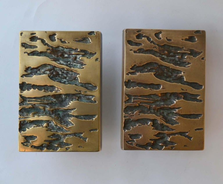 European Mid-Century Modern Set Bronze Push & Pull Door Handles for Double Doors For Sale