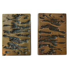 Mid-Century Modern Set Bronze Push & Pull Door Handles for Double Doors
