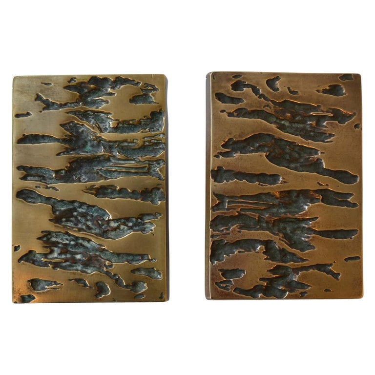 Mid-Century Modern Set Bronze Push & Pull Door Handles for Double Doors For Sale