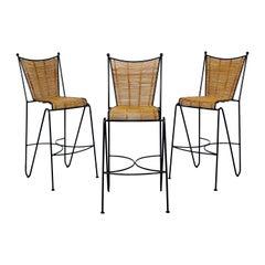 Mid-Century Modern Set of 3 Barstools by Pipsan Saarinen Swanson Iron Cane 1960s