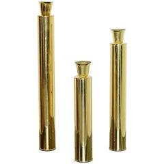 Mid Century Modern Set of 3 Brass Candle Holders Sticks Oggetti Italian, 1970s
