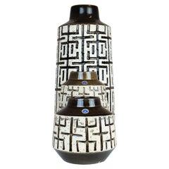 "Mid-Century Modern Set of 3 Ceramic Vases Upsala-Ekeby ""Labyrinth"" Sweden, 1960s"