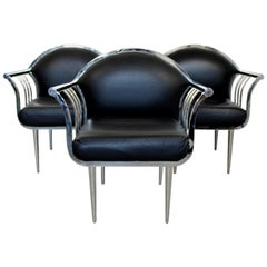 Mid-Century Modern Set of 3 Curved Chrome and Vinyl Accent Lounge Chairs, 1960s