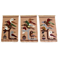 Mid-Century Modern Set of 3 Handwoven Wool Fiber Wall Art 1970s Birds