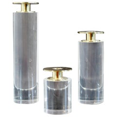 Mid-Century Modern Set of 3 Lucite Brass Candleholders, 1970s