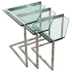 Mid-Century Modern Set of 3 Nesting Side Tables Cantilever Chrome & Glass, 1970s
