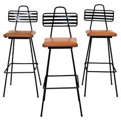Mid-Century Modern Set of 3 Wrought Iron Tony Paul Bar Stools 1960s Vinyl Seats