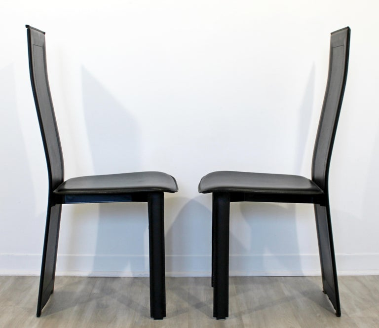 Mid Century Modern Pair of Black Leather and Wood B/&B Italia Side Chairs 1970s