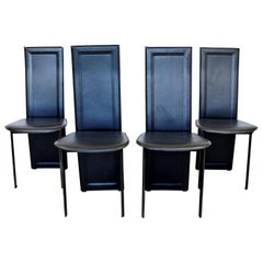 Mid-Century Modern Set of 4 B&B Italia Side Dining Chairs 1970s Black Leather
