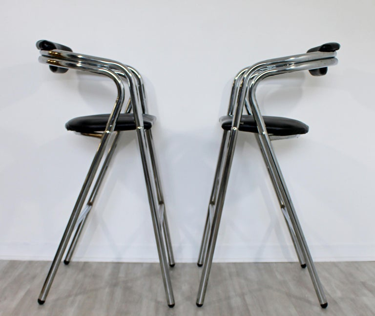 Late 20th Century Mid-Century Modern Set of 4 Chrome & Black Leather Bar Stools Industrial, 1970s For Sale